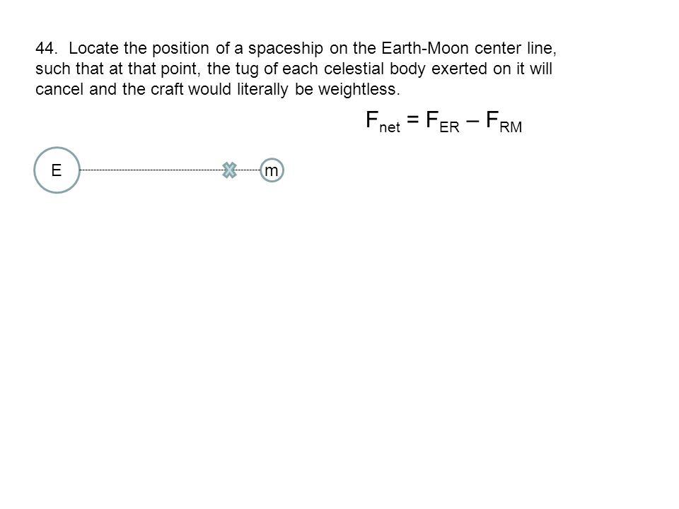 F net = F ER – F RM E m R ER = 3.46x10 8 m (346,000km) 44.