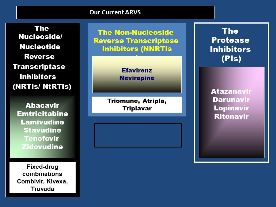 ARVS REGISTSERED IN SOUTH AFRICA The Nucleoside/ Nucleotide Reverse Transcriptase Inhibitors (NRTIs/ NtRTIs) The Non-Nucleoside Reverse Transcriptase Inhibitors (NNRTIs) The Protease Inhibitors (PIs) Abacavir Didanosine Emtricitabine Lamivudine Stavudine Tenofovir Zidovudine Efavirenz Nevirapine Etravirine Rilpivirine Amprenavir Atazanavir Darunavir Indinavir Lopinavir Ritonavir Saquinavir The Integrase Inhibitors (ISTIs) Raltegravir Fixed-drug combinations Combivir, Kivexa, Truvada Triomune, Atripla, Tripalvar, Complera
