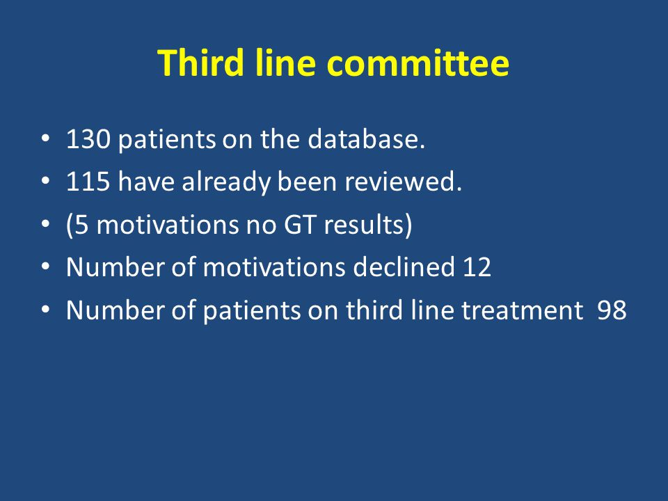 Third line committee 130 patients on the database.