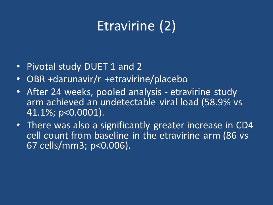 HIV-infected patients with virologic failure on current HAART regimen, history of ≥ 1 NNRTI RAM, ≥ 3 primary PI mutations, and HIV-1 RNA > 5000 copies/mL (DUET-1: N = 612; DUET-2: N = 591) Placebo + Darunavir/Ritonavir-containing OBR* (DUET-1: n = 308; DUET-2: n = 296) Etravirine 200 mg BID + Darunavir/Ritonavir-containing OBR* (DUET-1: n = 304; DUET-2: n = 295) Week 48 *Investigator-selected OBR included darunavir/ritonavir 600/100 mg twice daily + ≥ 2 NRTIs ± enfuvirtide.