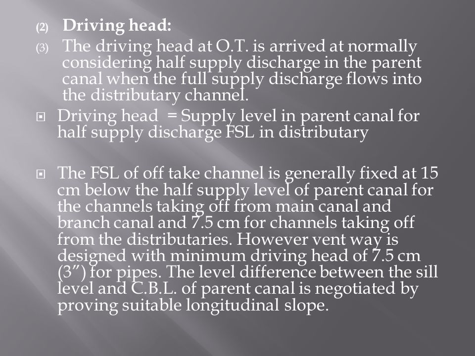 (2) Driving head: (3) The driving head at O.T.