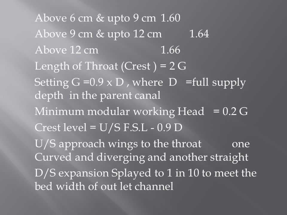 Above 6 cm & upto 9 cm1.60 Above 9 cm & upto 12 cm 1.64 Above 12 cm1.66 Length of Throat (Crest ) = 2 G Setting G =0.9 x D, where D =full supply depth in the parent canal Minimum modular working Head = 0.2 G Crest level = U/S F.S.L - 0.9 D U/S approach wings to the throat one Curved and diverging and another straight D/S expansion Splayed to 1 in 10 to meet the bed width of out let channel