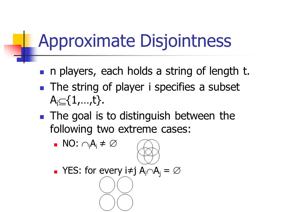 Approximate Disjointness n players, each holds a string of length t.