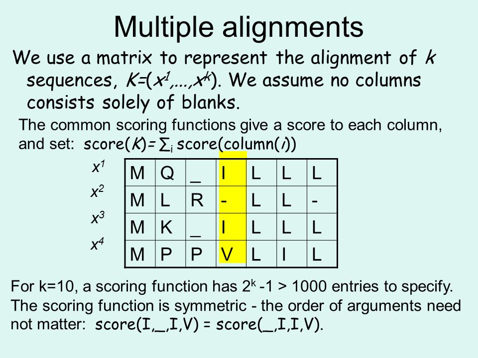 Multiple alignments We use a matrix to represent the alignment of k sequences, K=(x 1,...,x k ). We assume no columns consists solely of blanks. MQ_IL