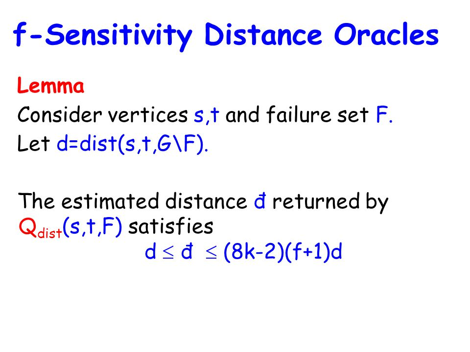 Lemma Consider vertices s,t and failure set F. Let d=dist(s,t,G\F).