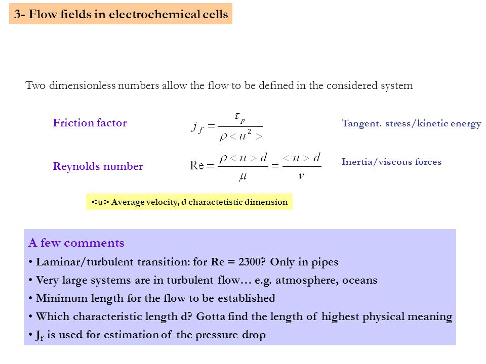11 3- Flow fields in electrochemical cells Two dimensionless numbers allow the flow to be defined in the considered system Friction factor Reynolds number Average velocity, d charactetistic dimension Tangent.