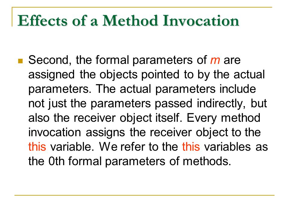 Effects of a Method Invocation Second, the formal parameters of m are assigned the objects pointed to by the actual parameters.