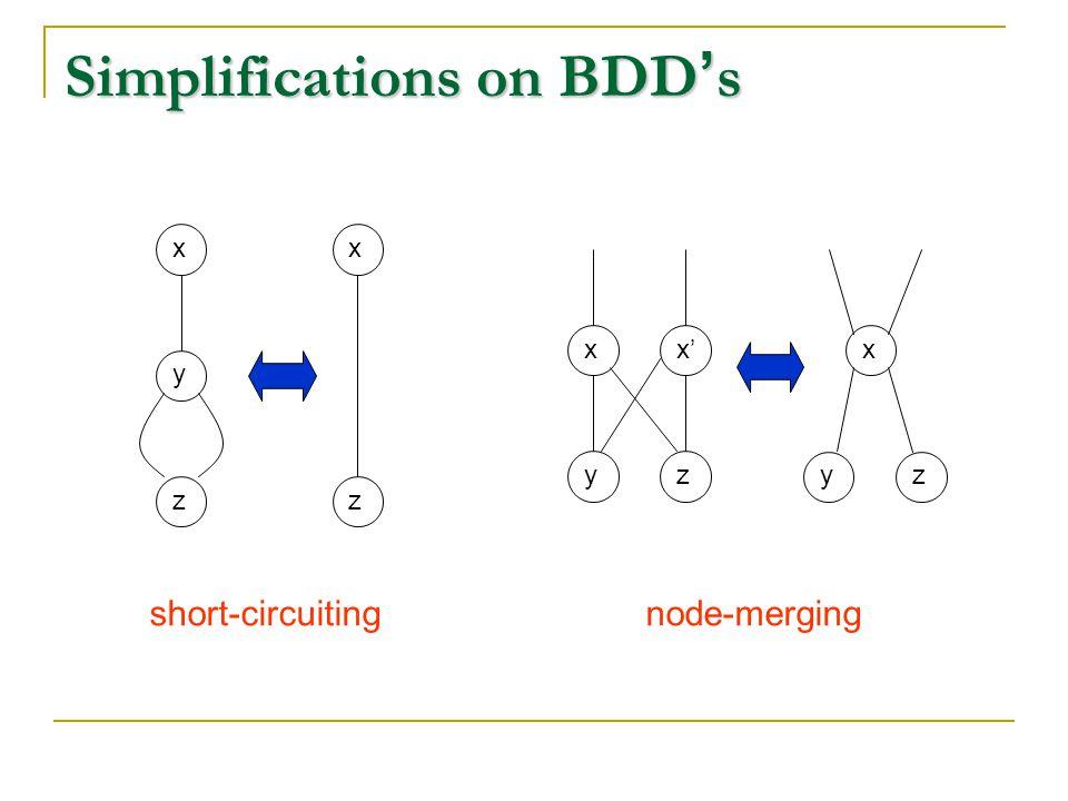 Simplifications on BDD ' s xyzxzxyx'zxyz short-circuitingnode-merging