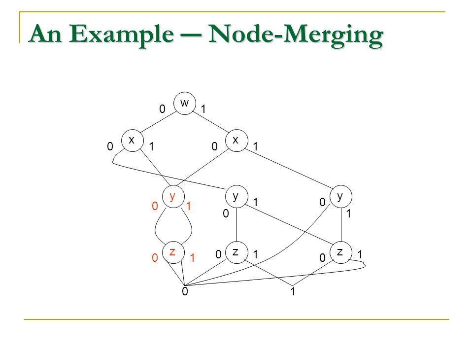 An Example ― Node-Merging wxx 01 yyzz 01 00 0 0 0 0 11 1 1 11 yz 0 0 1 1