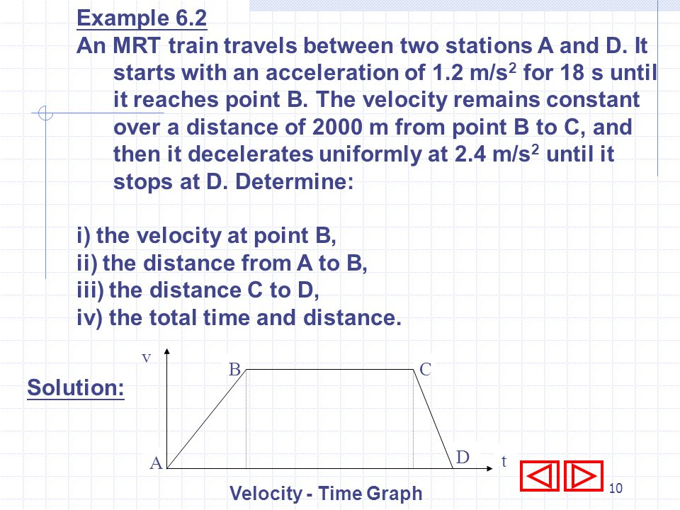 9 6.1.5 Non-uniform Motion A moving body with non-uniform motion has different accelerations (and/or decelerations) during the whole motion. The motio