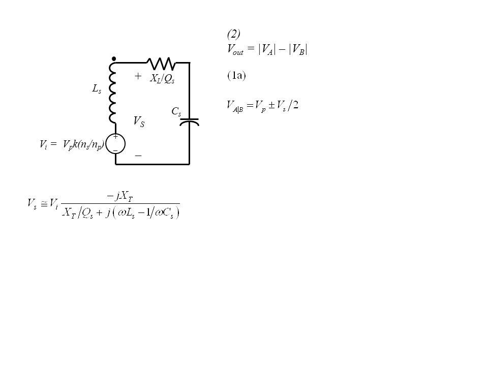 LsLs CsCs +_+_ XL/QsXL/Qs +VS_+VS_ V i = V p k(n s /n p ) (2) V out = |V A | – |V B |