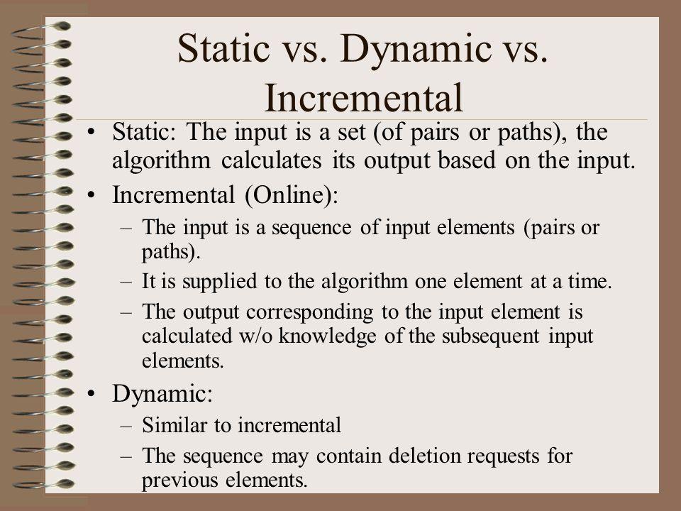 Static vs. Dynamic vs.