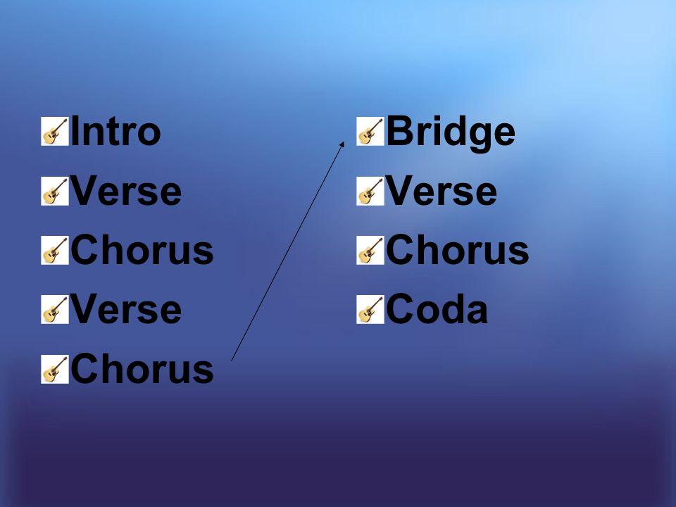 Intro Verse Chorus Verse Chorus Bridge Verse Chorus Coda