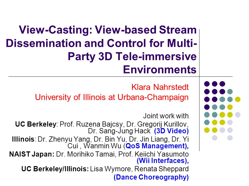 Implications: Distributed Operating System Challenges Deal with Large scale of cameras/displays  Camera/Display PCs are distributed over LAN and WAN networks  PCs are multi-core Real-Time Processing (3D Reconstruction, Rendering)  Consider between 5-15 3D streams with frame rate of 10 fps and render them into one 4D stream with 10 fps  Run rendering station at 50-150 fps with 640x480 pixels per frame Need Configuration/coordination of various 3D/4D services in a flexible and effective manner Software synchronization protocols with approximate hardware accuracy Portable and easy deployable distributed TI/OS services Low maintenance OS services Real-Time OS services on multi-core architectures