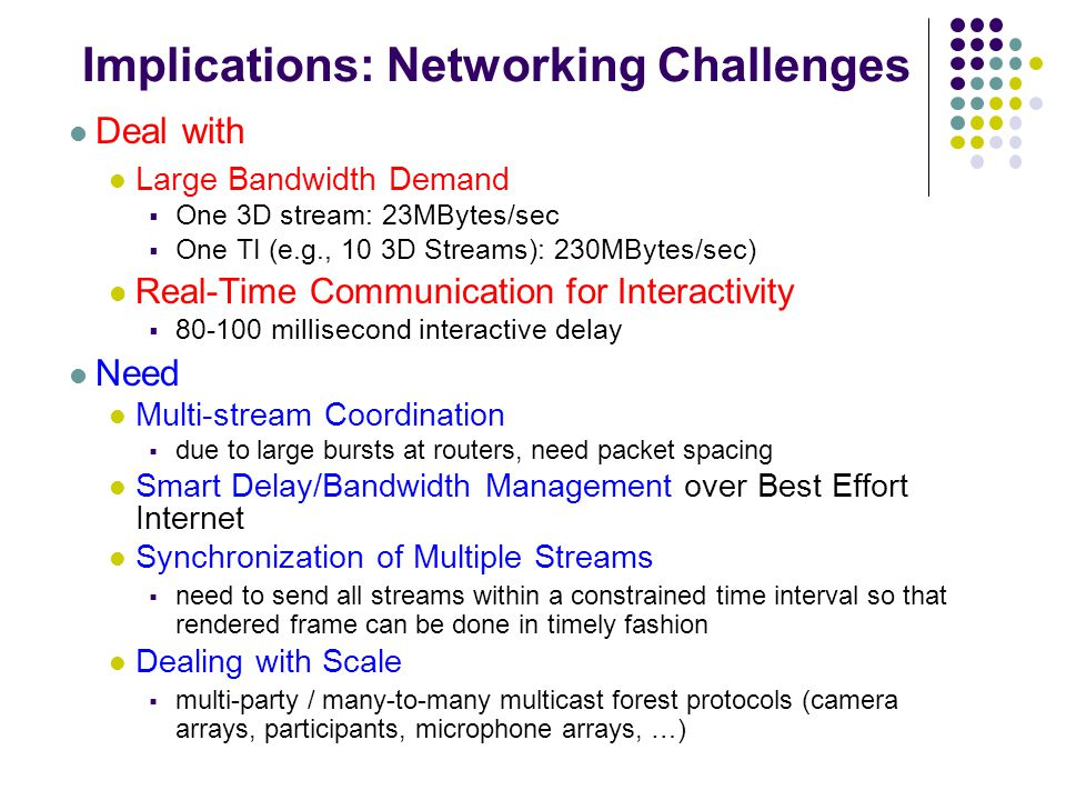 Implications: Networking Challenges Deal with Large Bandwidth Demand  One 3D stream: 23MBytes/sec  One TI (e.g., 10 3D Streams): 230MBytes/sec) Real-Time Communication for Interactivity  80-100 millisecond interactive delay Need Multi-stream Coordination  due to large bursts at routers, need packet spacing Smart Delay/Bandwidth Management over Best Effort Internet Synchronization of Multiple Streams  need to send all streams within a constrained time interval so that rendered frame can be done in timely fashion Dealing with Scale  multi-party / many-to-many multicast forest protocols (camera arrays, participants, microphone arrays, …)