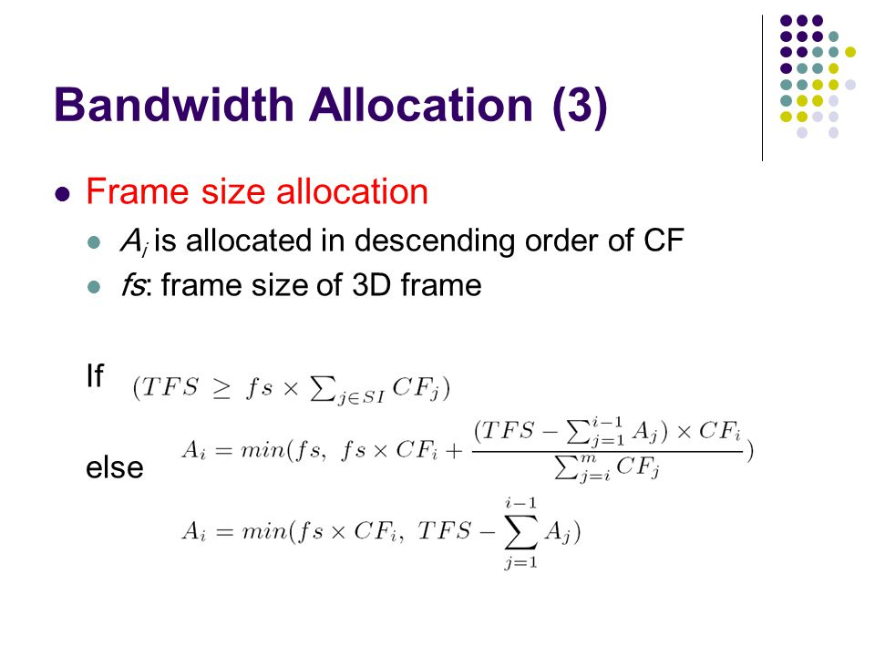 Bandwidth Allocation (3) Frame size allocation A i is allocated in descending order of CF fs: frame size of 3D frame If else