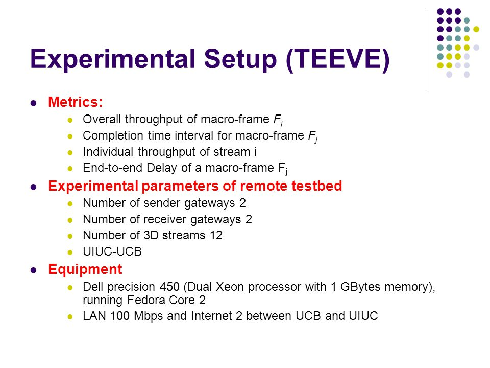 Experimental Setup (TEEVE) Metrics: Overall throughput of macro-frame F j Completion time interval for macro-frame F j Individual throughput of stream i End-to-end Delay of a macro-frame F j Experimental parameters of remote testbed Number of sender gateways 2 Number of receiver gateways 2 Number of 3D streams 12 UIUC-UCB Equipment Dell precision 450 (Dual Xeon processor with 1 GBytes memory), running Fedora Core 2 LAN 100 Mbps and Internet 2 between UCB and UIUC