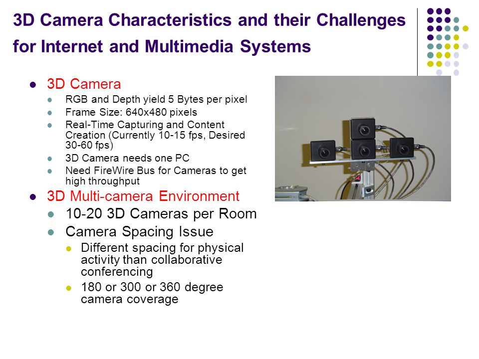 3D Camera Characteristics and their Challenges for Internet and Multimedia Systems 3D Camera RGB and Depth yield 5 Bytes per pixel Frame Size: 640x480 pixels Real-Time Capturing and Content Creation (Currently 10-15 fps, Desired 30-60 fps) 3D Camera needs one PC Need FireWire Bus for Cameras to get high throughput 3D Multi-camera Environment 10-20 3D Cameras per Room Camera Spacing Issue Different spacing for physical activity than collaborative conferencing 180 or 300 or 360 degree camera coverage