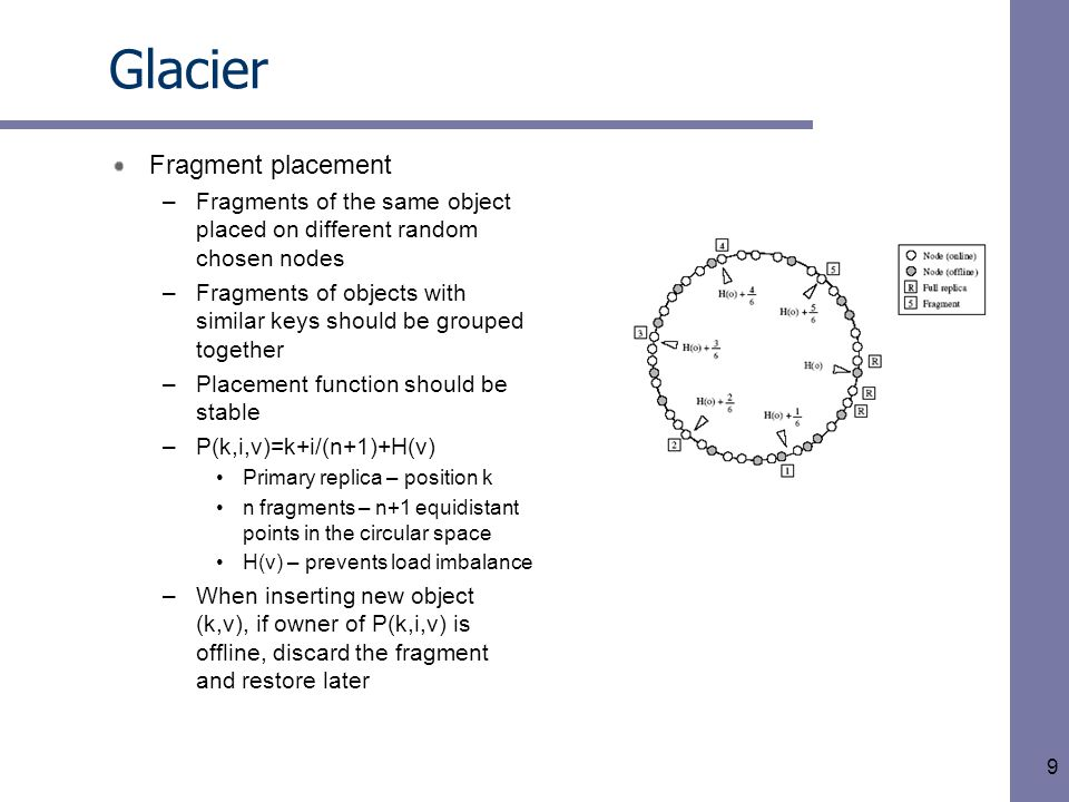 10 Glacier Fragment maintenance –Fragment insertion misses, key space ownership change, failures may cause fragments lost –A simple protocol The node compiles a list of all keys (k,v) in its local fragment store and sends the list to some of its peers Each peer replies with a list of manifests for missing object The node requires k fragments from its peers, validates them, and computes the fragment to store locally
