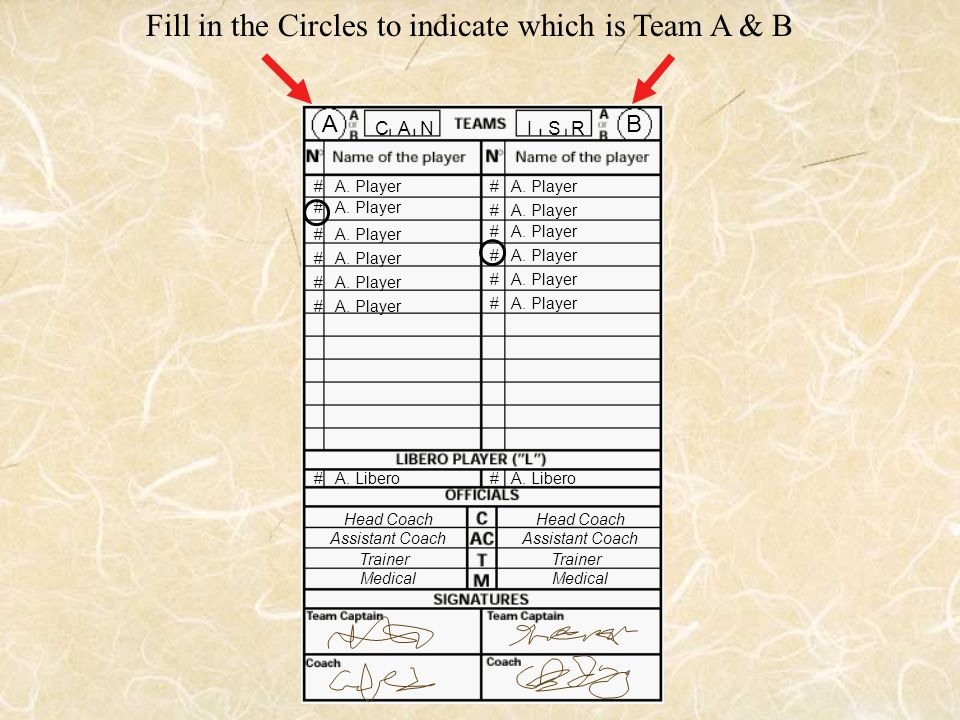 C A N # A. Player I S R Fill in the Circles to indicate which is Team A & B Head Coach Assistant Coach Trainer Medical Head Coach Assistant Coach Trai