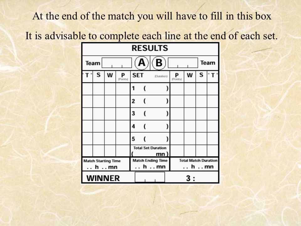 At the end of the match you will have to fill in this box It is advisable to complete each line at the end of each set.