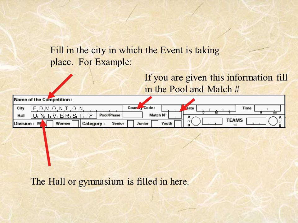 Fill in the city in which the Event is taking place. For Example: E D M O N T O N The Hall or gymnasium is filled in here. U N I V E R S I T Y If you