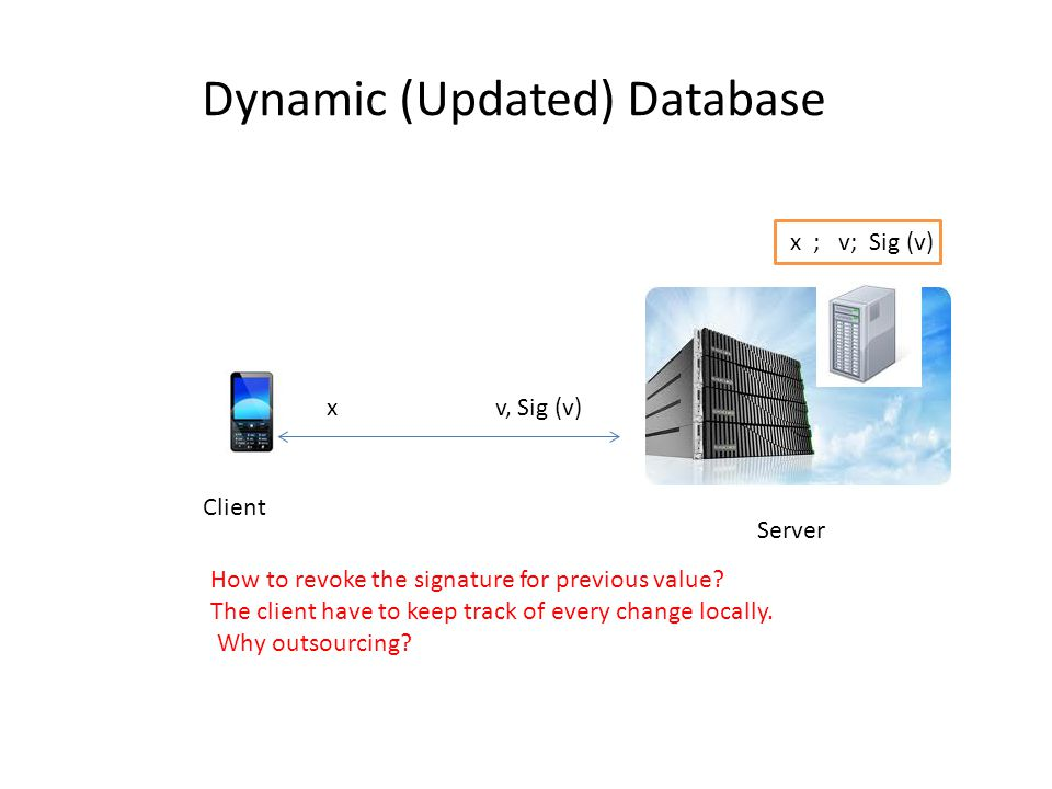 Dynamic (Updated) Database Client Server x ; v; Sig (v) x v, Sig (v) How to revoke the signature for previous value? The client have to keep track of