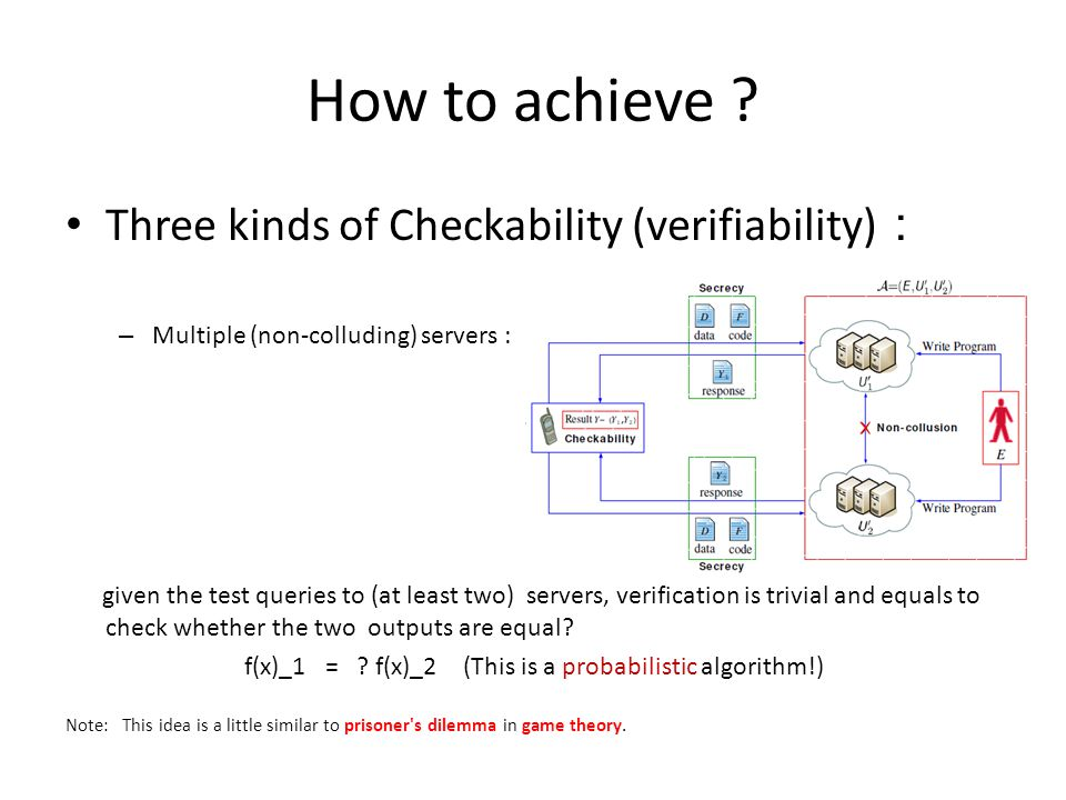 How to achieve ? Three kinds of Checkability (verifiability) : – Multiple (non-colluding) servers : given the test queries to (at least two) servers,