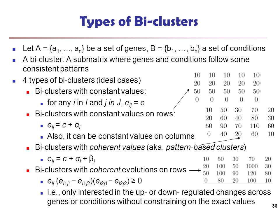 Types of Bi-clusters Let A = {a 1,..., a n } be a set of genes, B = {b 1, …, b n } a set of conditions A bi-cluster: A submatrix where genes and condi