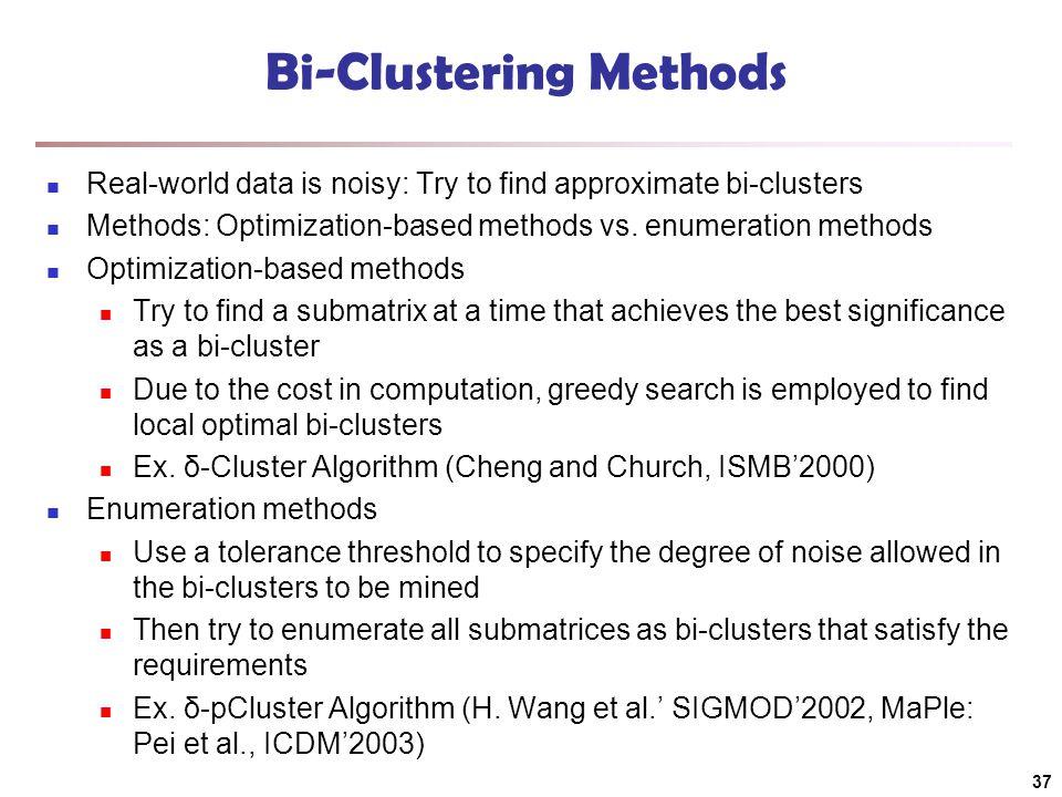 Bi-Clustering Methods Real-world data is noisy: Try to find approximate bi-clusters Methods: Optimization-based methods vs. enumeration methods Optimi