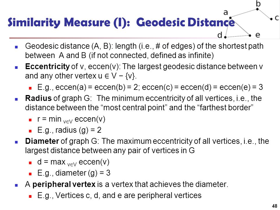 Similarity Measure (I): Geodesic Distance Geodesic distance (A, B): length (i.e., # of edges) of the shortest path between A and B (if not connected, defined as infinite) Eccentricity of v, eccen(v): The largest geodesic distance between v and any other vertex u ∈ V − {v}.