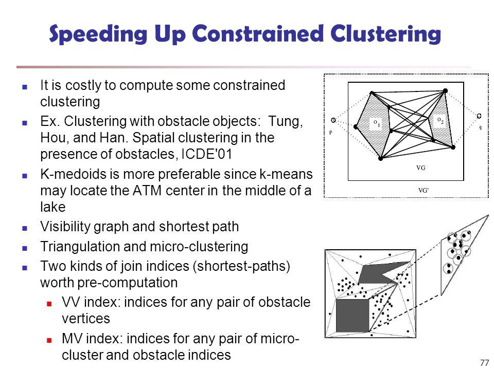 77 Speeding Up Constrained Clustering It is costly to compute some constrained clustering Ex.