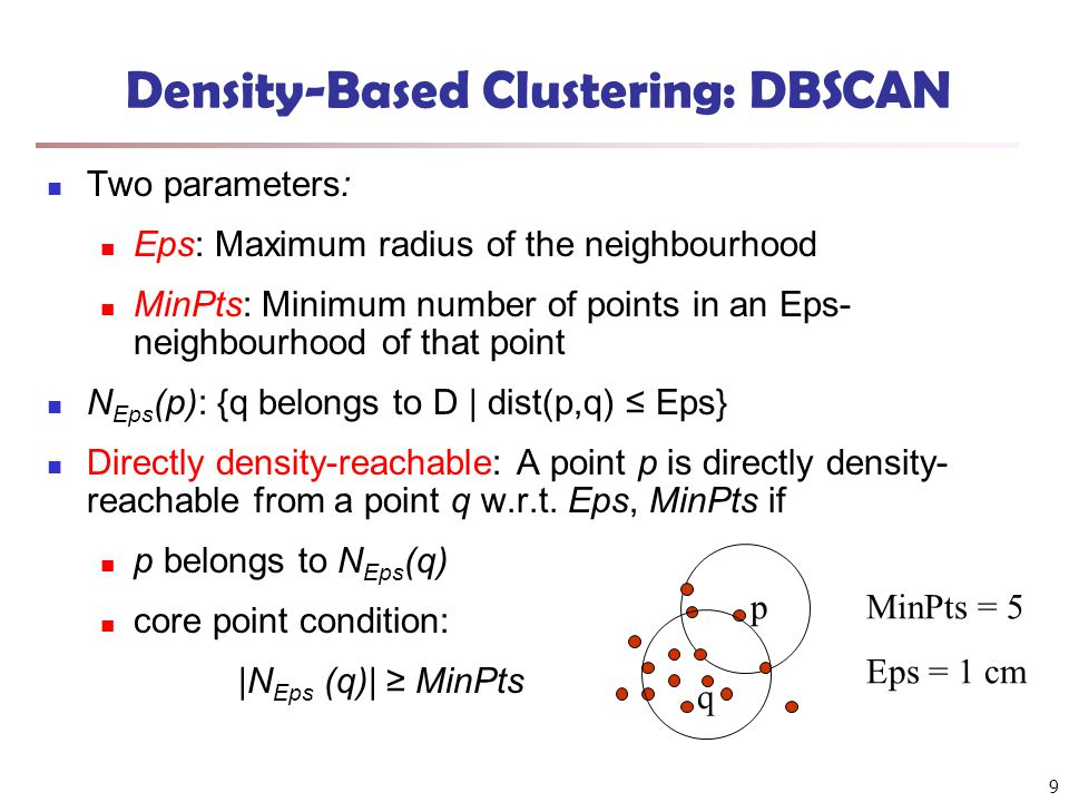 Density-Based Clustering: DBSCAN Two parameters: Eps: Maximum radius of the neighbourhood MinPts: Minimum number of points in an Eps- neighbourhood of that point N Eps (p): {q belongs to D | dist(p,q) ≤ Eps} Directly density-reachable: A point p is directly density- reachable from a point q w.r.t.