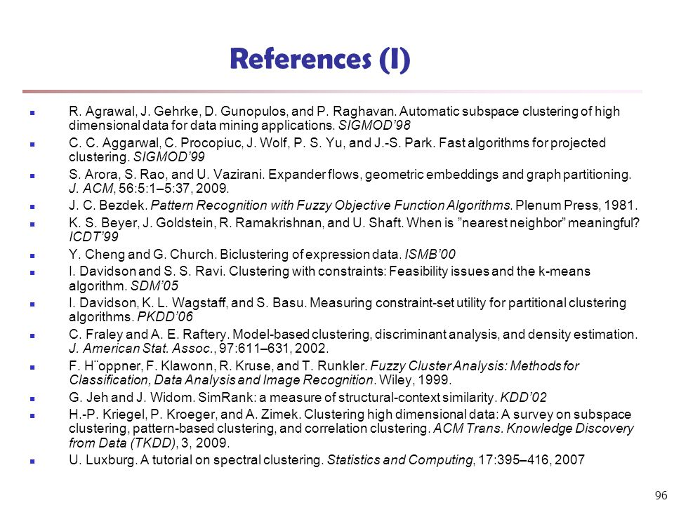 96 References (I) R. Agrawal, J. Gehrke, D. Gunopulos, and P.