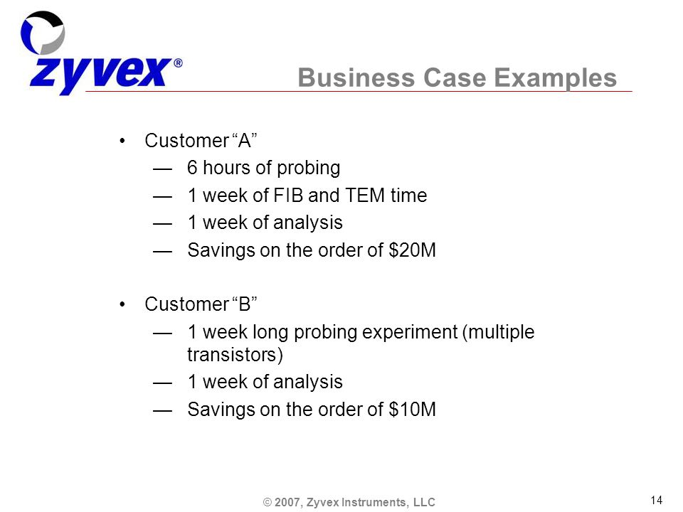 © 2007, Zyvex Instruments, LLC 14 Business Case Examples Customer A —6 hours of probing —1 week of FIB and TEM time —1 week of analysis —Savings on the order of $20M Customer B —1 week long probing experiment (multiple transistors) —1 week of analysis —Savings on the order of $10M