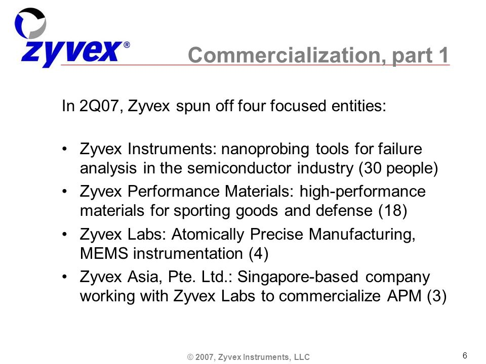 © 2007, Zyvex Instruments, LLC 6 Commercialization, part 1 In 2Q07, Zyvex spun off four focused entities: Zyvex Instruments: nanoprobing tools for failure analysis in the semiconductor industry (30 people) Zyvex Performance Materials: high-performance materials for sporting goods and defense (18) Zyvex Labs: Atomically Precise Manufacturing, MEMS instrumentation (4) Zyvex Asia, Pte.