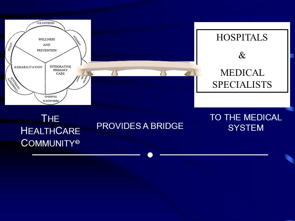 I HOSPITALS & MEDICAL SPECIALISTS T HE H EALTH C ARE C OMMUNITY  PROVIDES A BRIDGE TO THE MEDICAL SYSTEM