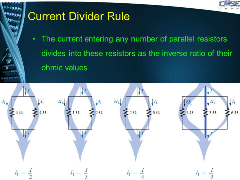 Current Divider Rule The current entering any number of parallel resistors divides into these resistors as the inverse ratio of their ohmic values