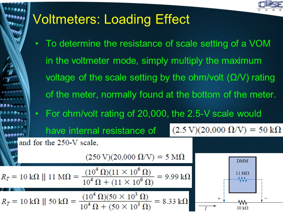 Voltmeters: Loading Effect To determine the resistance of scale setting of a VOM in the voltmeter mode, simply multiply the maximum voltage of the scale setting by the ohm/volt (Ω/V) rating of the meter, normally found at the bottom of the meter.