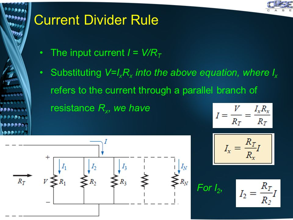 Current Divider Rule The input current I = V/R T Substituting V=I x R x into the above equation, where I x refers to the current through a parallel br