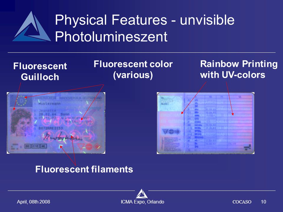 COCASO10 April, 08th 2008 ICMA Expo, Orlando Fluorescent filaments Fluorescent Guilloch Fluorescent color (various) Rainbow Printing with UV-colors Physical Features - unvisible Photolumineszent