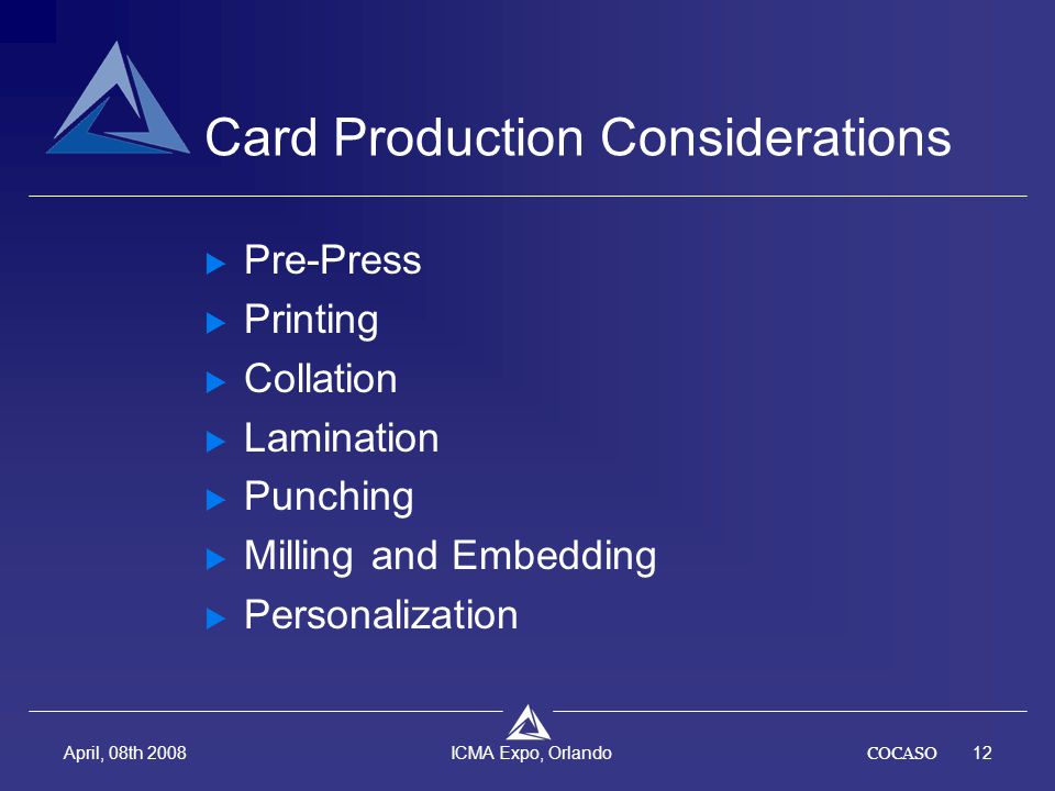 COCASO12 April, 08th 2008 ICMA Expo, Orlando Card Production Considerations  Pre-Press  Printing  Collation  Lamination  Punching  Milling and E