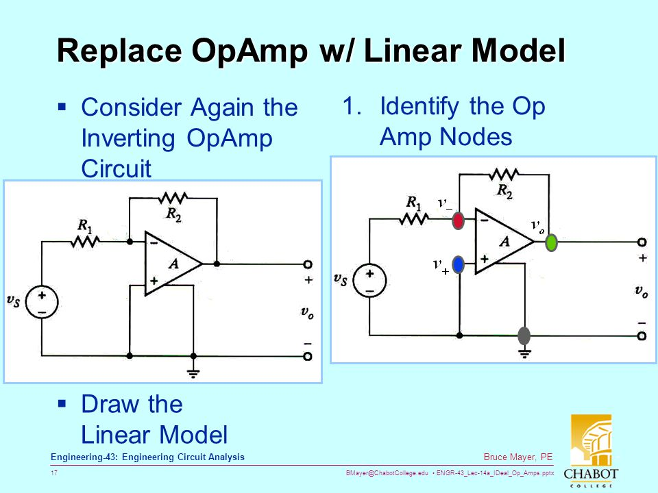 BMayer@ChabotCollege.edu ENGR-43_Lec-14a_IDeal_Op_Amps.pptx 17 Bruce Mayer, PE Engineering-43: Engineering Circuit Analysis Replace OpAmp w/ Linear Model  Consider Again the Inverting OpAmp Circuit  Draw the Linear Model 1.Identify the Op Amp Nodes