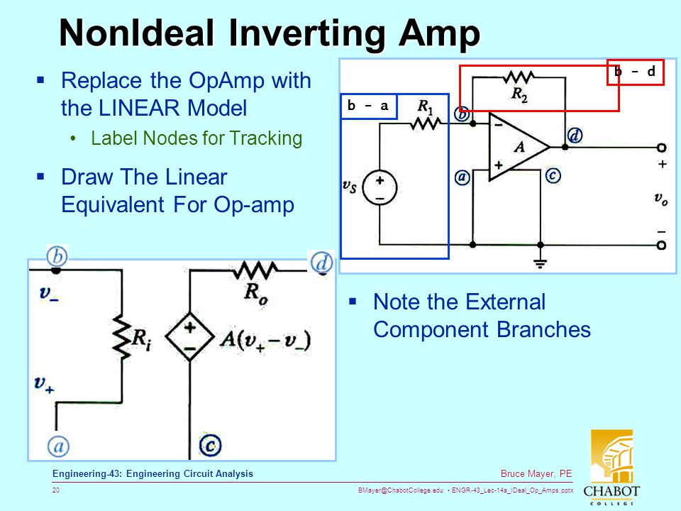 BMayer@ChabotCollege.edu ENGR-43_Lec-14a_IDeal_Op_Amps.pptx 20 Bruce Mayer, PE Engineering-43: Engineering Circuit Analysis NonIdeal Inverting Amp  Replace the OpAmp with the LINEAR Model Label Nodes for Tracking  Draw The Linear Equivalent For Op-amp  Note the External Component Branches b - ab - d