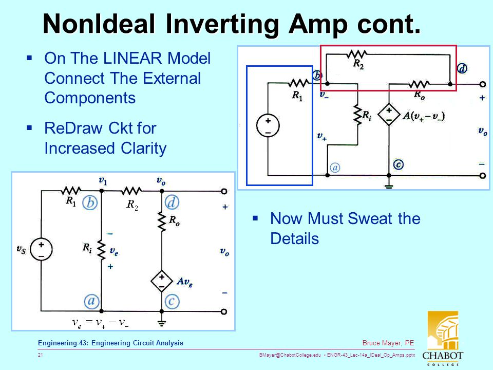 BMayer@ChabotCollege.edu ENGR-43_Lec-14a_IDeal_Op_Amps.pptx 21 Bruce Mayer, PE Engineering-43: Engineering Circuit Analysis NonIdeal Inverting Amp con