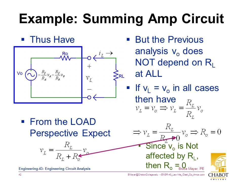 BMayer@ChabotCollege.edu ENGR-43_Lec-14a_IDeal_Op_Amps.pptx 42 Bruce Mayer, PE Engineering-43: Engineering Circuit Analysis Example: Summing Amp Circuit  Thus Have  From the LOAD Perspective Expect  But the Previous analysis v o does NOT depend on R L at ALL  If v L = v o in all cases then have Since v o is Not affected by R L, then R o = 0
