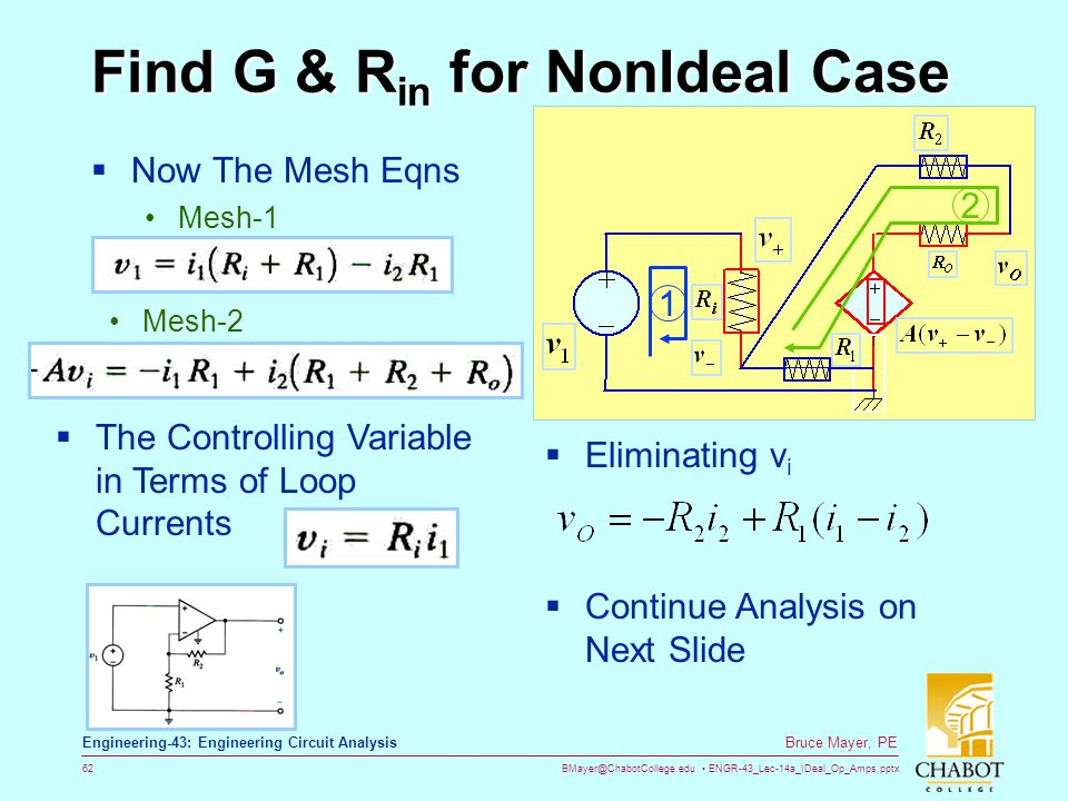 BMayer@ChabotCollege.edu ENGR-43_Lec-14a_IDeal_Op_Amps.pptx 62 Bruce Mayer, PE Engineering-43: Engineering Circuit Analysis Find G & R in for NonIdeal