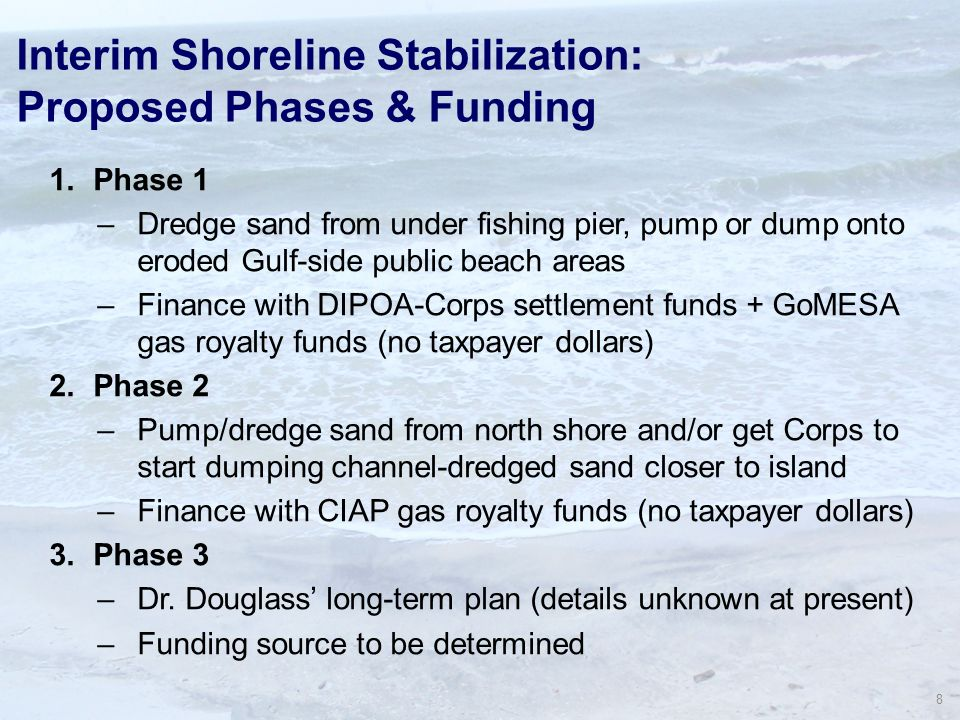 8 Interim Shoreline Stabilization: Proposed Phases & Funding 1.Phase 1 –Dredge sand from under fishing pier, pump or dump onto eroded Gulf-side public beach areas –Finance with DIPOA-Corps settlement funds + GoMESA gas royalty funds (no taxpayer dollars) 2.Phase 2 –Pump/dredge sand from north shore and/or get Corps to start dumping channel-dredged sand closer to island –Finance with CIAP gas royalty funds (no taxpayer dollars) 3.Phase 3 –Dr.