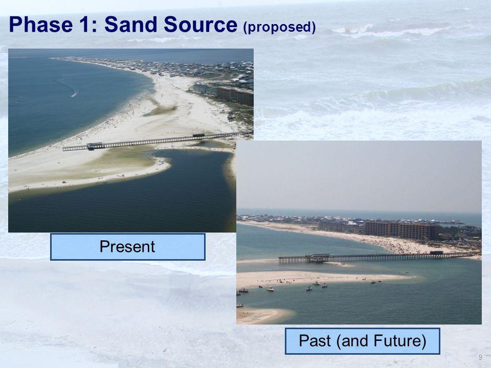 9 Phase 1: Sand Source (proposed) Present Past (and Future)