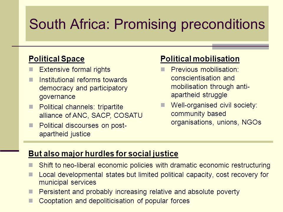 South Africa: Promising preconditions But also major hurdles for social justice Shift to neo-liberal economic policies with dramatic economic restruct